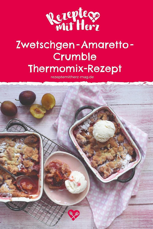 Zwetschgen-Amaretto-Crumble. Thermomix-Rezept