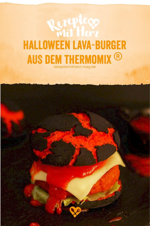 Burger-Buns im Lava-Look für Halloween