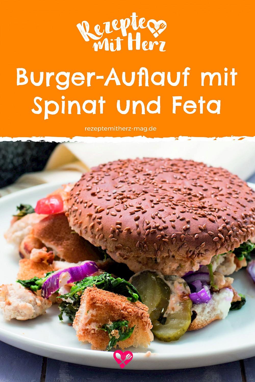 Burger-Auflauf mit Spinat und Feta. Thermomix-Rezept